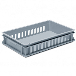 Stackable container- slotted walls, reinforced base & 2 shell handles