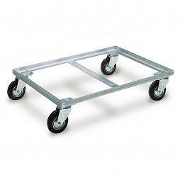 Dolly with 4 steering castors and 1 brake, 820x620x185 mm