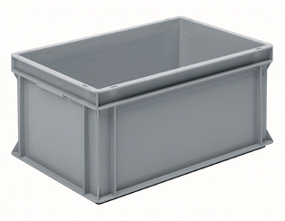 Stackable container- solid sidewalls, SGL solid base & 2 shell handles