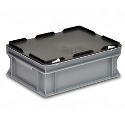 Plastic case 400x300x160mm with hinged lid and snap locks
