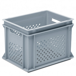 Stackable container-perforated sidewalls, solid base & 2 handle slots