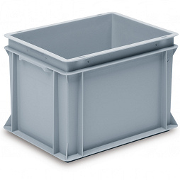 Stackable container-solid sidewalls, slotted base & 2 shell handles