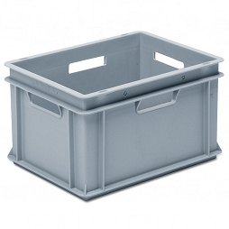 Stackable container - solid sidewalls, solid base & 4 handle slots
