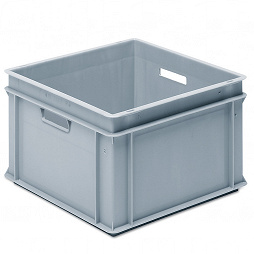 Stackable container- solid sidewalls, ribbed base & 4 handle slots