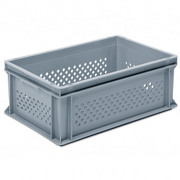 Stackable container - perforated sidewalls,solid base & 2 shell handle