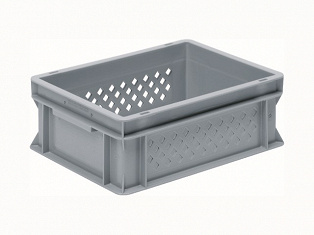 Stackable container- perforated sides, SGLsolid base & 2 shell handles