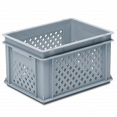 Stackable container-perforated sidewalls, solid base & 2 shell handles