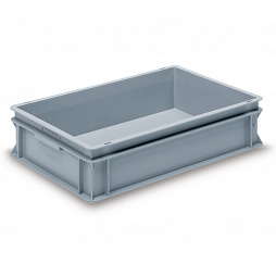 Stackable container - solid sidewalls, solid base and 2 shell handles.