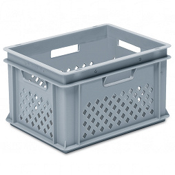 Stackable container-perforated sidewalls, solid base & 4 handle slots