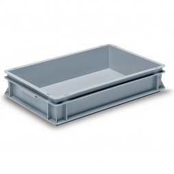 Stackable container- solid walls, reinforced base & 2 shell handles