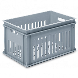 Stackable container- slotted sides, slotted base & 2 handle slots