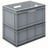with solid sidewalls, ribbed base & 4 shell handles, 600x400x545 mm.
