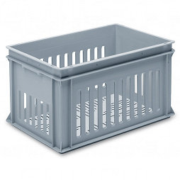 Stackable container - slotted sidewalls, slotted base & 2 shell handle