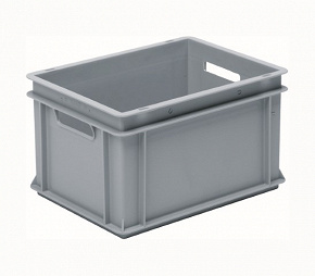 Stackable container- solid sides, solid base & 2 handle slots