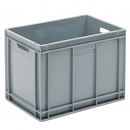 Stackable container - solid sidewalls, SGL solid base & 2 handle slots