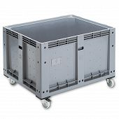 Pallet box 1200x1000x807 mm with 4 steering castors & solid sidewalls