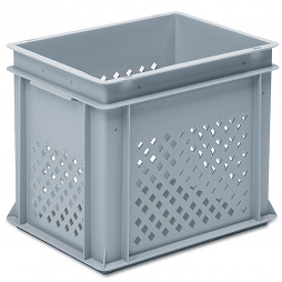 Stackable container -perforated sidewalls, solid base, 2 shell handles