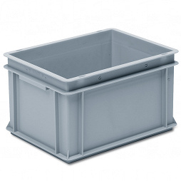 Stackable container - solid sidewalls, slotted base, 2 shell handles.