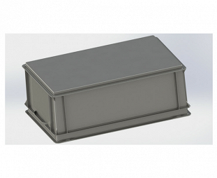 Stackable container- solid sidewalls & base with 2 shell handles