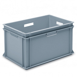 Stackable container - solid sidewalls, slotted base & 4 handle slots.