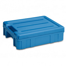 Stackable shipping container 398x306x120 mm with lid & 1 carry handle