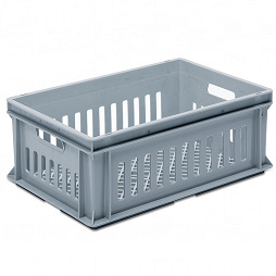 Stackable container- slotted sidewalls, grated base & 2 handle slots