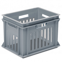 Stackable container - slotted sidewalls, solid base and 4 handle slots