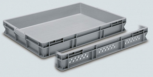 Stackable container- perforated sides, solid base & 2 shell handles