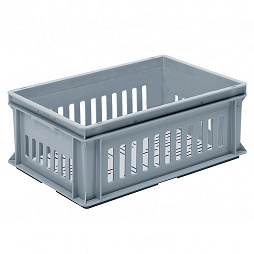 Stackable container-slotted sidewalls, slotted base & 2 shell handles