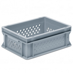 Stackable container-perforated sidewalls,SGL solid base,2 shell handle