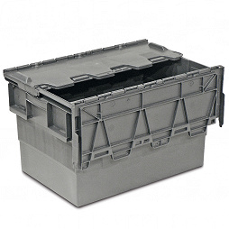 Grey nestable container with attached lid (ALC)