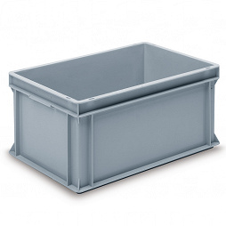 Stacking container RAKO, base with segmented ribbing