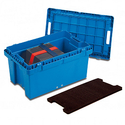 Reusable service box with lid, nestable 598x398x329 mm
