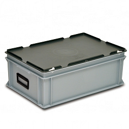 Stacking container RAKO with lid and hole for padlock