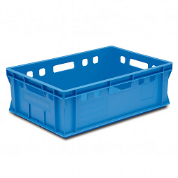 Meat container with integrated label clips