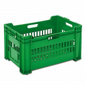 Produce crate, grated base